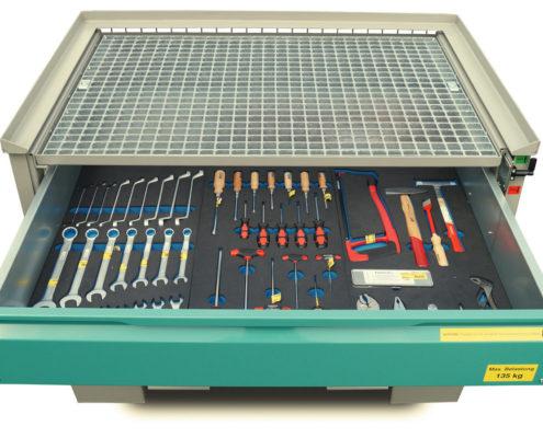 System-Gitterbox SGB - Mit Schubladeneinsatz und Sonderlackierung