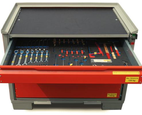 System-Gitterbox SGB - Mit Siebdruckplatte und Schubladeneinsatz