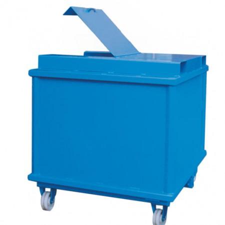 Klappbodenbehälter mit Deckel und durchgehenden Taschen